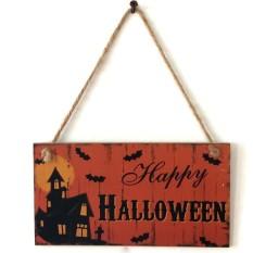 Starmall Modis Haunted Rumah Kelelawar Dinding Doorplate Plakat Pintu Kayu Gantungan Tanda Halloween Hotel Rumah Dekorasi-Internasional