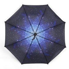 Jual Starry Sky Sunscreen Automatic Folding Compact Umbrella Murah