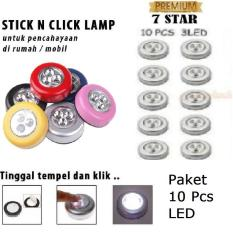 Stick N Click Lamp 7STAR Paket 10 Pcs - 3 Mata LED/Stick Touch Lamp/Lampu Tempel Emergency (10 Pcs)
