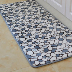 Stones Dicetak Dapur Lantai Tikar Anti-slip Karpet untuk Kamar Tidur Ruang Tamu Dustproof Masuk Keset Teras Yoga Sofa Mat (Silver) 50x120 Cm-Intl
