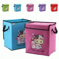 Storage Box Motif Cow - Storage Box Foldable Tempat Penyimpanan Barang Serbaguna Tas Tempat Penyimpanan Pakaian Selimut Bed Cover Box Travelling Tas Penyimpanan Organizer
