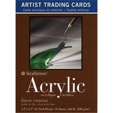 Strathmore 400 Series Acrylic Artist Trading Cards, Linen Kanvas, 10 Lembar-Intl