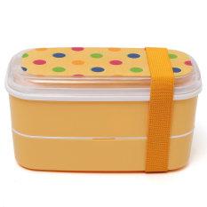 Cara Beli Pelajar Kartun Kotak Makan Makanan Wadah Penyimpanan Portabel Kotak Bento Sumpit Orange Dot
