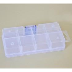 SunnyShop8/10/15/24 Kompartemen Kotak Plastik Transparan Kosmetik Pancing Perlengkapan Perhiasan Aksesoris Listrik Obat Pil Penyimpanan dapat Dilepas Container Ketrampilan Organizer Spesifikasi: persegi 8 Grid-Internasional