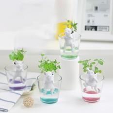 SunnyShopCreative Ceramic Creature Mini Backpack Plant Pot Self Watering Animal Planter Desktop Potted Decoration Specification:Pippi Lu dog - sweet basil - intl