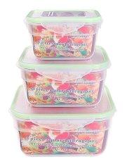 Sunweb Homdox 3 Pcs PP Square Food Daging Penyimpanan Set Containers Fresh Microwave Freezer Box-Intl