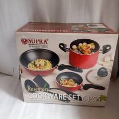 Supra Rosemary 6 Pc Cookware Panci Wajan Teflon Tutup Kaca Bagus Murah