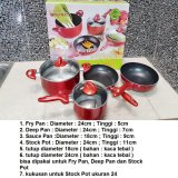 Toko Supra Rosemary Cookware Supra Panci Set 7Pcs Red Lengkap