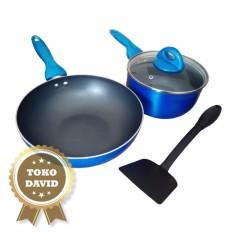 Supra Wajan mini wok Panci sauce pan Lavender set 4pcs - Biru