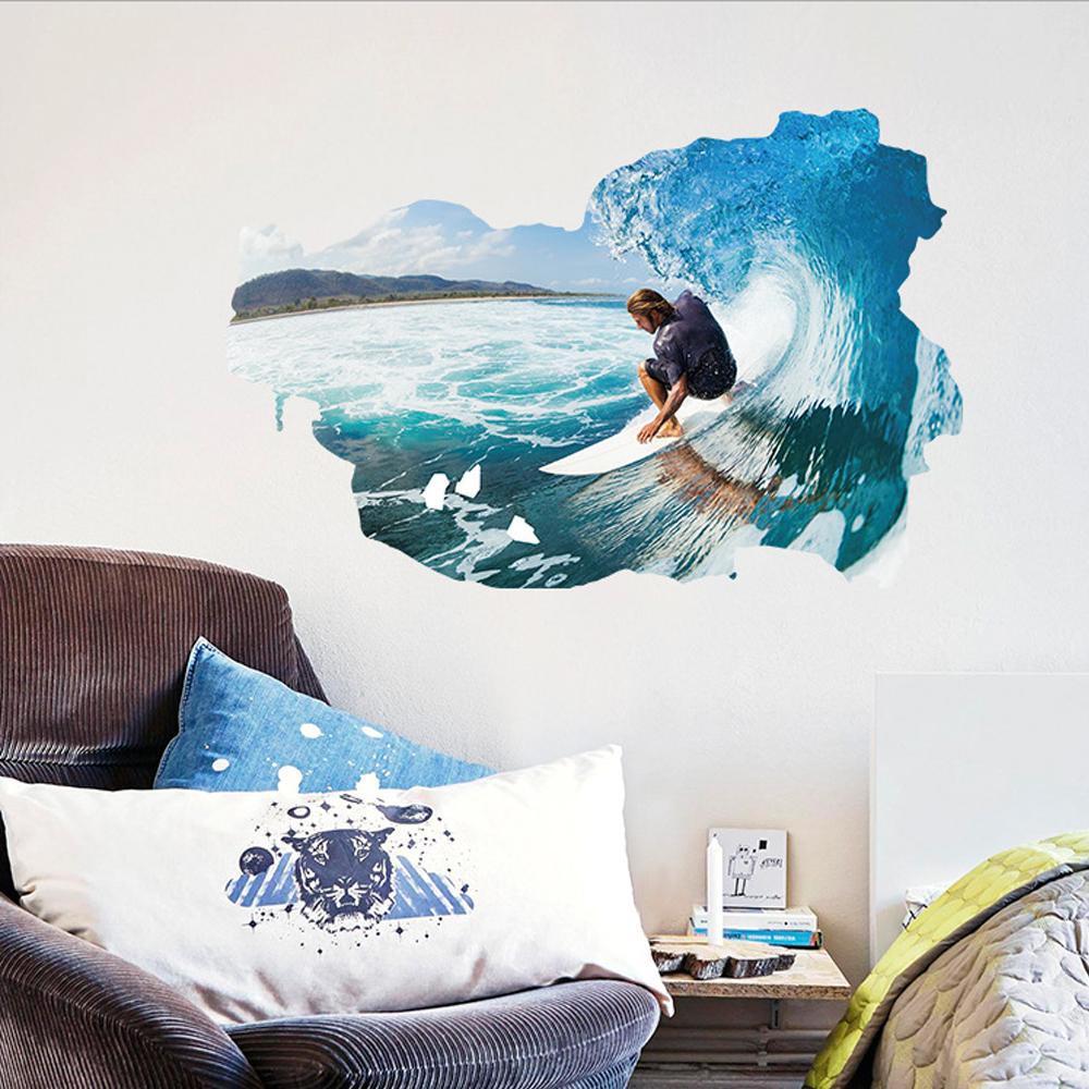 Berselancar Di Dinding Gelombang Laut Wall Decal Home Sticker PVC Mural Kertas Rumah Dekorasi Wallpaper Ruang Tamu Kamar Tidur Gambar Seni untuk Anak-anak Remaja Remaja Dewasa-Intl