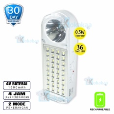 Miliki Segera Surya Lampu Emergency Sql L4301N Light Led 36 Smd Senter 5W Super Led Rechargeable 4 Hours