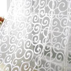 Beli Sweet Floral Tulle Voile Jendela Pintu Tirai Tirai Sheer Putih Murah