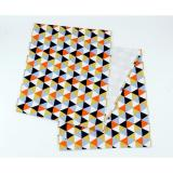 Jual Table Runner Taplak Meja Triangle Black Orange Baru