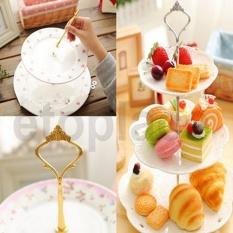 Tableware Perkakas 3 Tier Kue Roti Biskuit Plate Fruitholder Rak untuk Pernikahan Xmas Pesta (Perak) -piring Tidak Termasuk-Intl