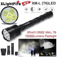 Tactical 10000 Lumen 5 x XML T6 LED Flashlight Torch Light 5 Modes 18650 Hunting - intl