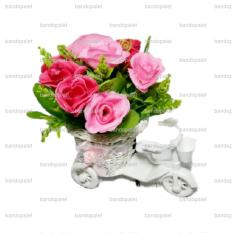 Beli Pink Sepeda Tanaman Rangkaian Bucket Buket Bunga Mawar Pohon Plastik Artificial Artifisial Sintetis Pot Vas Rotan Hiasan Mini Shaby Chic Jawa Barat