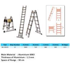 Spesifikasi Tangga Double Telskopik 1 9 M 1 9 M 3 8 Meter Tangga Lipat Multipurpose Dalton Ml 1001D Merk Dalton