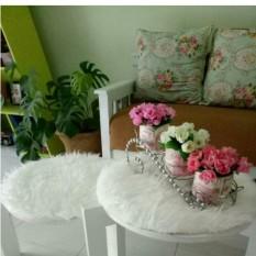 Taplak Meja Minimalis Bulu Korea Putih