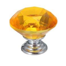 Teamtop 30mm Kristal Kaca Pintu Kabinet Dapur Lemari Laci Tarik Tombol Pegangan Amber