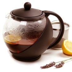 Spesifikasi Teapot 1250 Ml Coklat Teko Kaca Ceret Tempat Teh Saringan Stainless Tea Pot Coffee Baru