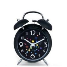 Tech Black 3 Double Bell Logam Double Bell Dual Bell Alarm Clock, Daya Baterai, Dan-Intl