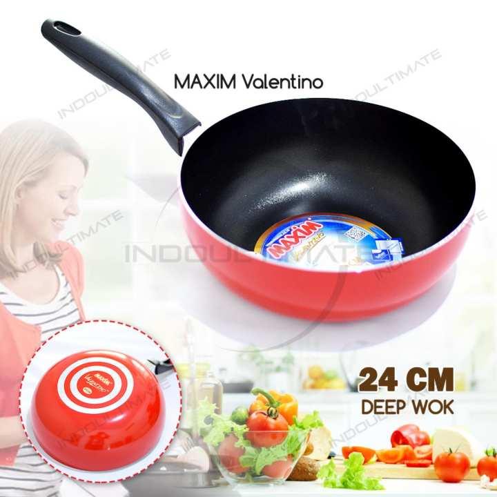 Teflon MAXIM Anti Lengket / Wajan Anti Lengket / Panci / Penggorengan Anti Lengket / NB HL FP-030 MAXIM VALENTINO Deep Wok Ukuran 24 cm - Red