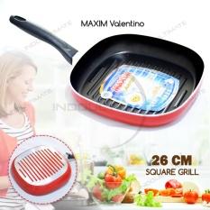 Teflon MAXIM Anti Lengket / Frypan / Wajan / Panci / Penggorengan Anti Lengket / MAXIM VALENTINO Square Grill NB HL FP-04 Ukuran 26 cm - Red