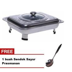 Tempat Makan Prasmanan Motif stainless steel + Gratis Sendok Sayur Stainless Steel