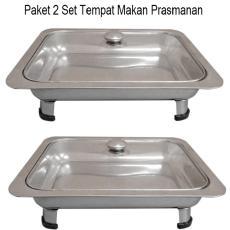 Tempat Makan Prasmanan Tutup Kaca 555 paket 2 SET- Silver