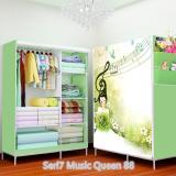 Toko Terlaris 07 Music Queen Multifunction Wardrobe With Cover Lemari Pakaian Dekat Sini