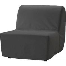 Padat Katun Lycksele Kursi Tempat Tidur Sofa Penggantian Adalah Kustom Terbuat untuk IKEA Lycksele Tunggal Sleeper atau Futon. Yang Lycksele Kursi Tunggal Penggantian Slipcover (Katun Abu-abu Gelap)-Internasional