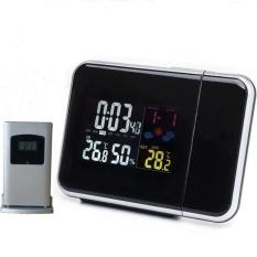 Berkualitas Tinggi Samping Tempat Tidur Wake Up Table Proyeksi Alarm ClockWithLaser Waktu Proyektor Weather Station dengan Indoor Outdoor (hitam) -Intl