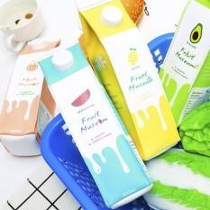 Kayu Mo Kehidupan Sehari-hari C Di Korea + Pulpen Tas Lucu Kecil Segar Yang Menyenangkan Menulis Casing Kotak Susu Pu kulit Kulit Pulpen Tas-Internasional