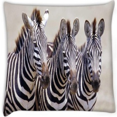 Tiga Pasang Zebra Secara Digital Dicetak Cushion Cover Pillow 22x22 Inch-Intl