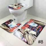 Beli Tiga Piece Set Velvet Toilet Toilet Lid Cover Penyerap Anti Selip Lantai Wc Karpet Internasional Yang Bagus