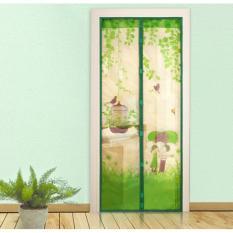 Tirai pintu magnet anti nyamuk motif bird burung sangkar hijau