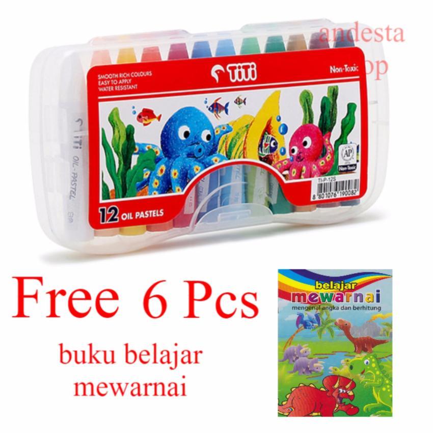 Titi Krayon 12 Oil Pastels Crayon Free 6 Pcs Buku Mewarnai Besar