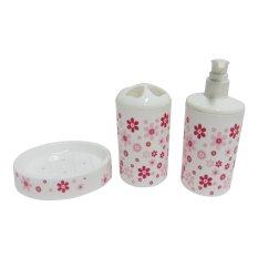 Titiz Tempat Sabun Mandi Cair Dan Batang Beserta Tempat Sikat Gigi Dan Sampo Motif Bunga Pink