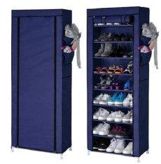 Toko Bagus Indo Shoe Rack With Dust Cover 5 Susun Dark Blue - Rak Sepatu Serbaguna Dengan Penutup