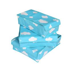 Spesifikasi Tokomuda Bamboo Underwear Organizer Bra 3In1 Storage Box Set Dengan Penutup Biru Dan Harganya