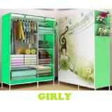 Promo Tokorak Multifunction Wardrobe With Cloth Lemari Pakaian Motif Girly Tokorak Terbaru