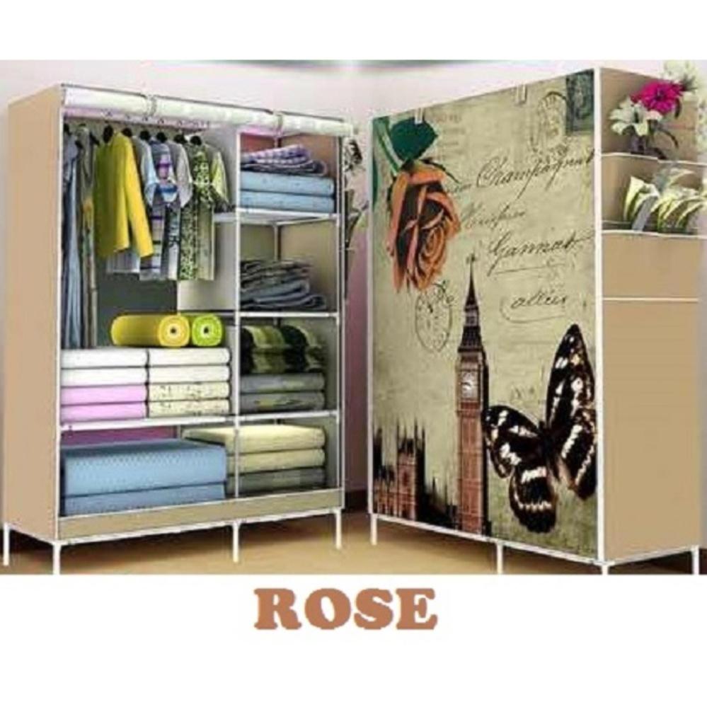Size : 103x43x165 cm TOKORAK - Multifunction wardrove with cloth / Lemari Pakaian Motif ROSE