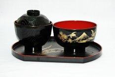 Spesifikasi Tokyo1 Miso Soup Lid Fuji Large Soup Hitam Leaf Half Moon Tray Murah Berkualitas