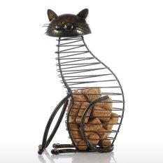 Tooarts Kucing Tutup Gabus Anggur Wadah Dekorasi Rumah Kerajinan Tangan dari Besi Hadiah Kerajinan Tangan Hewan