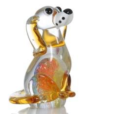Tooarts Puppy Glass Patung Dekorasi Rumah Hewan Ornamen Hadiah Kerajinan Dekorasi-Internasional