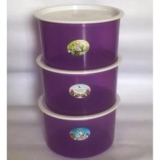 PADIE - TOPLES Plastik Bulat isi 3 pcs ukuran 1 liter / toples makanan/toples kue/camilan/snack/tempat serbaguna/tempat kue dan makanan/kotak kue dan makanan