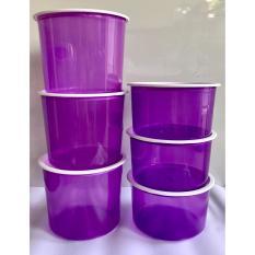 PADIE - TOPLES Plastik Bulat isi 3 set ukuran 1 liter dan 1.5 liter/ toples makanan/toples kue/camilan/snack/tempat serbaguna/tempat kue dan makanan/kotak kue dan makanan