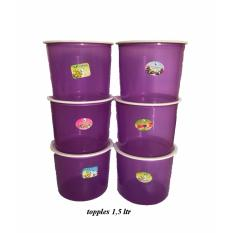 BAYIE - TOPLES Plastik Bulat isi 6 pcs ukuran 1.5 liter / toples makanan/toples kue/camilan/snack/tempat serbaguna/tempat kue dan makanan/kotak kue dan makanan