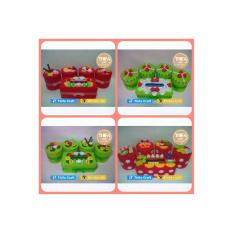Toples Set Hias Flanel motif strawberry hijau
