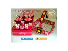 Toples Set + Keranjang Air Mineral / Aqua 16 hias Flanel - Hello Kitty